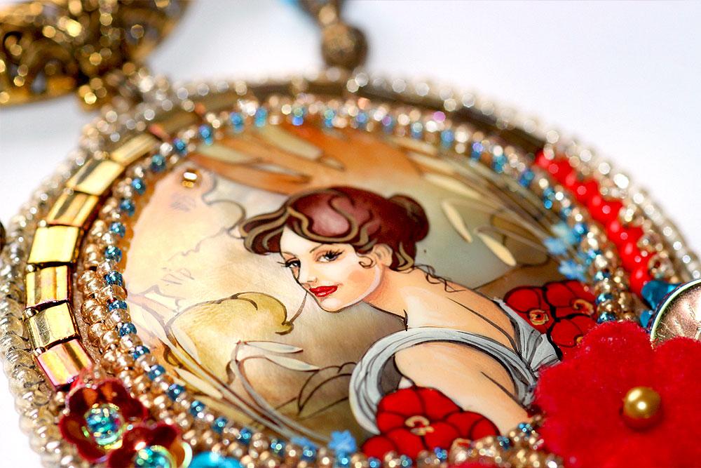 Art Nouveau Necklace Summer Poppies Alphonse Mucha