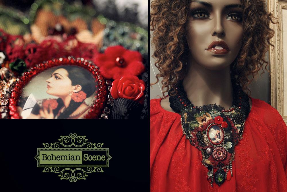 Mexican Woman Bohemian Necklace Jesus Helguera