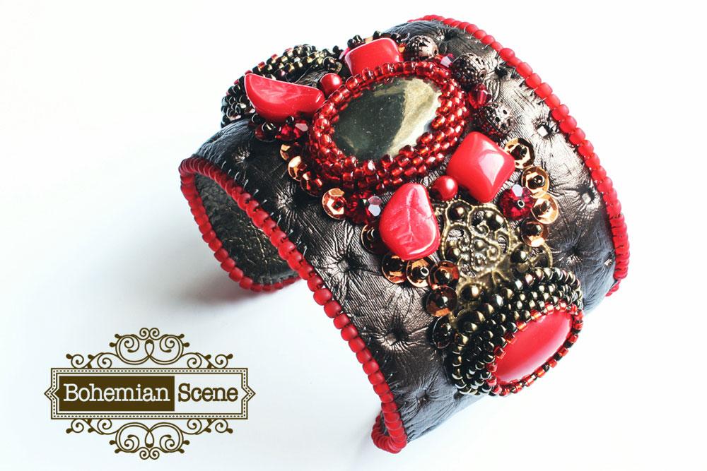 Victorian Metallic Leather Cuff