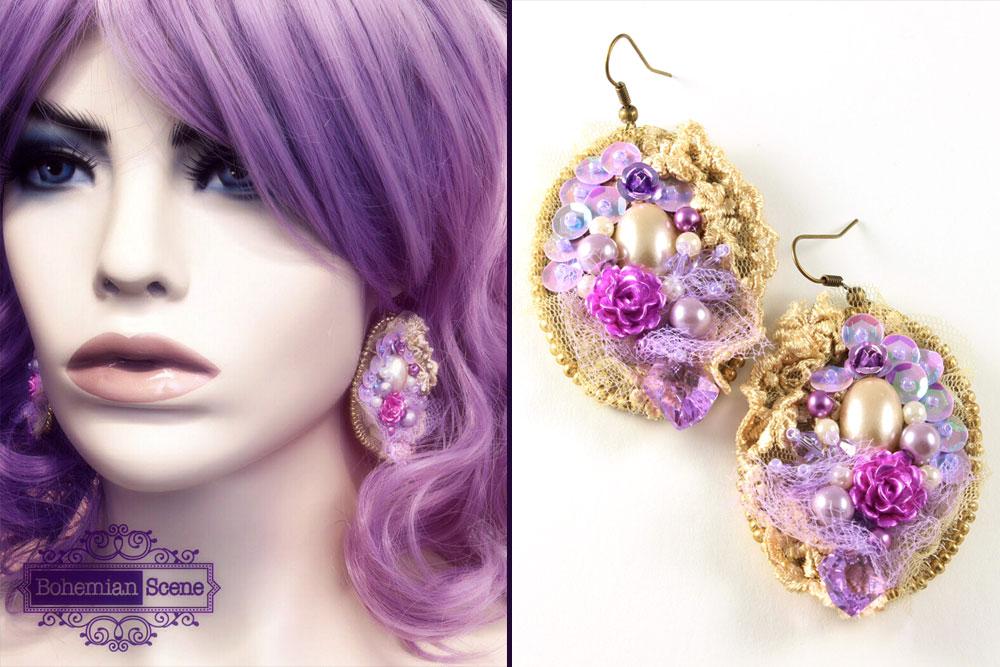 Beige Lace Earrings