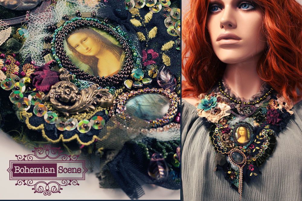 Da vInci Mona Lisa romantic fabric necklace