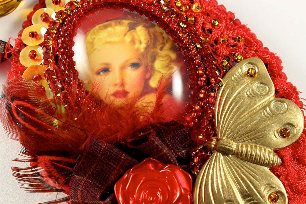 Art Deco Red Pin-up Necklace