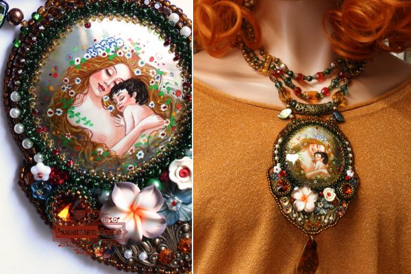 Art Nouveau Mother and Child Necklace Klimt